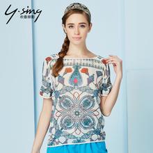 衣香丽影夏装复古民族风雪纺衫个性短袖上衣女修身8421101蕾丝衫图片