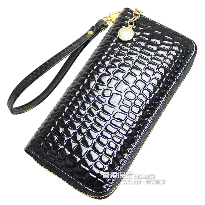 New Korean patent leather ladies purse authentic around wallet wallet, ladies handbags handbag zipper bag-mail