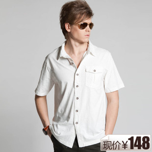 New 148 package mail! Ma Ke m cable summer genuine business casual cotton short sleeve  shirt for men 4 colors