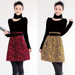 Женское платье 2012 Весна новый длинный рукав тонкий платье Золотой бархат пузырь послал шарф