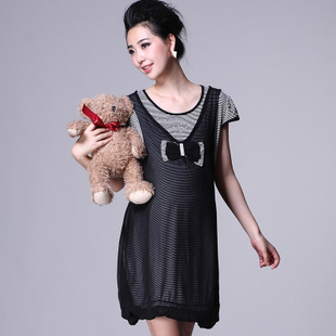 Oubuyanuo 2012 fashion mother soft relaxed stretch short sleeve stripe dress maternity dresses 284