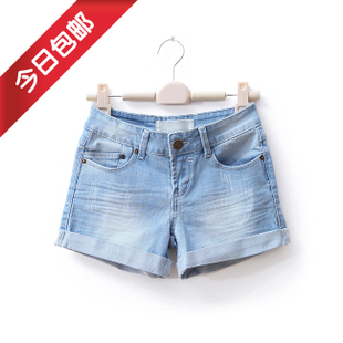 Package mail Europe and vintage thin wild white women's trousers summer shorts hot pants Korean jeans WD687