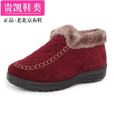 Authentic old Beijing shoes women's boots cotton-padded shoes for the elderly elderly mother slip shoes warm winter shoes high shoes