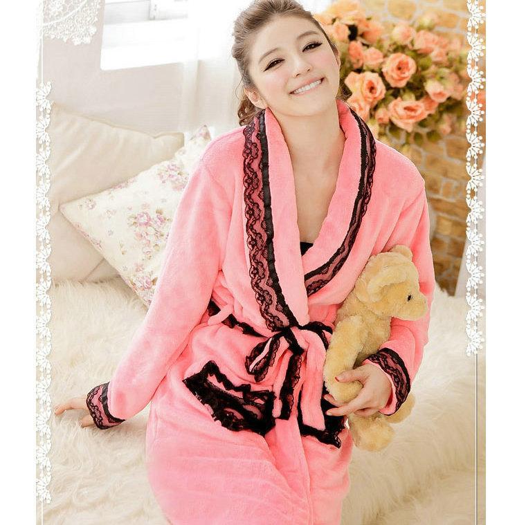 Халат Новый японский коралловый с коралловые флис Nightgown кружева зимой девушки пижамы ночные рубашки женщин сумка почты Жен. Фланель В форме сердца Гламурный стиль