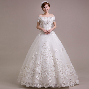 2014 new fashion wedding dress the bride Korean Ancient large code word shoulder Qi lace band show thin drill