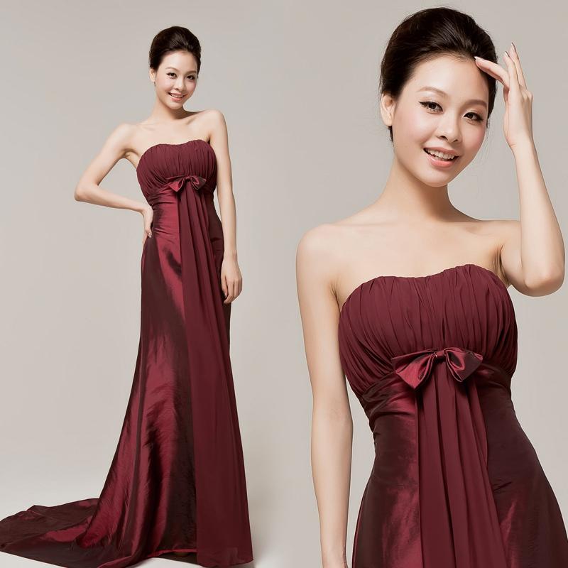 新娘婚纱礼服结婚抹胸坠地结婚季长裙暗红色酒红色礼服晚装沙滩拖尾礼服