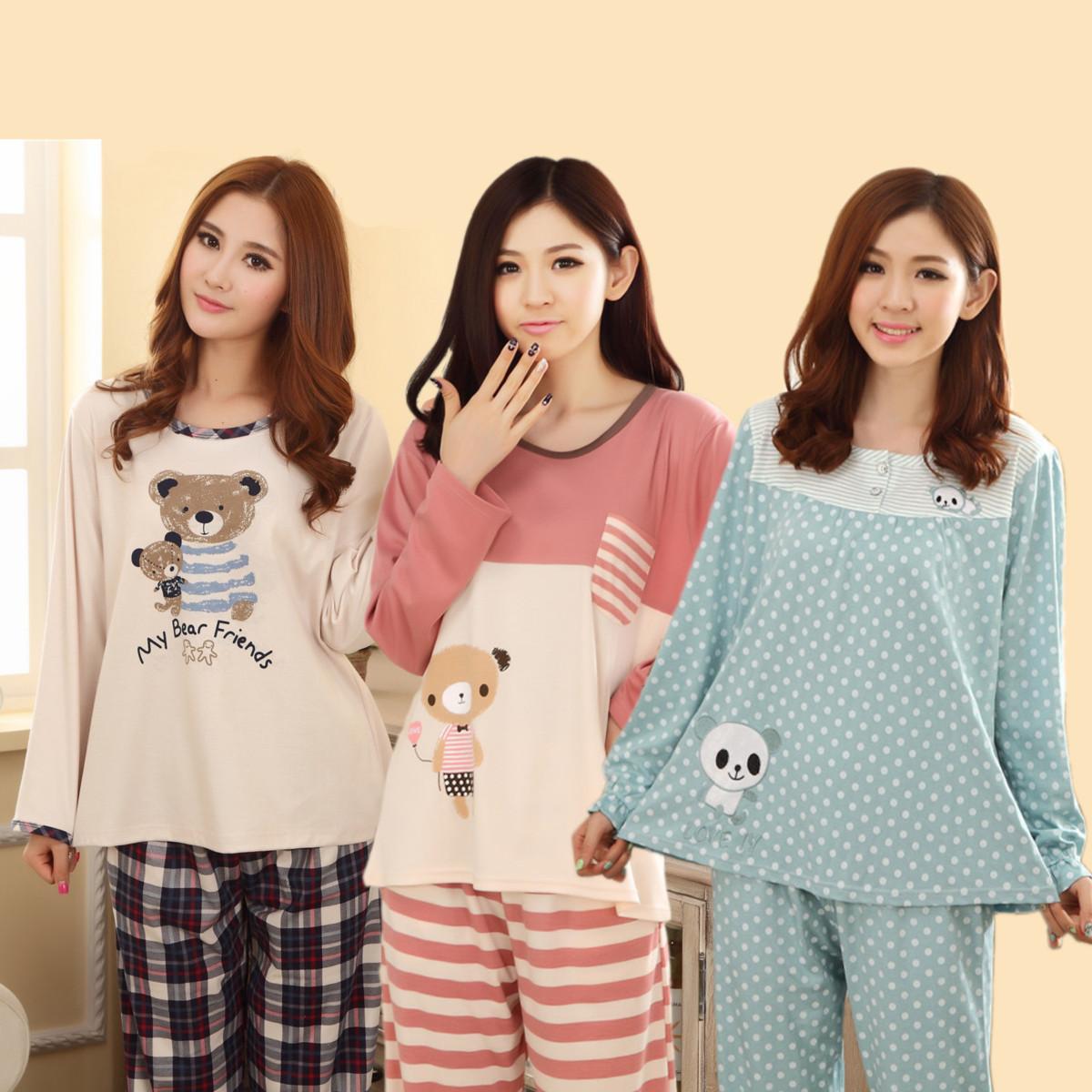 Пижама Женщина осень хлопок пижамы женщин в длинный рукав хлопок костюм милые одежды плюс размер хлопка осенью shuiyi осень