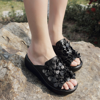 2014 new summer leather waterproof thick crust muffin bottom female slippers sandals slope with high-heeled sandals word