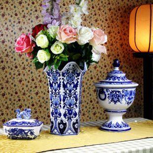 外贸 宫廷混搭西洋风复古陶瓷手绘青花器花瓶插家居摆设摆件