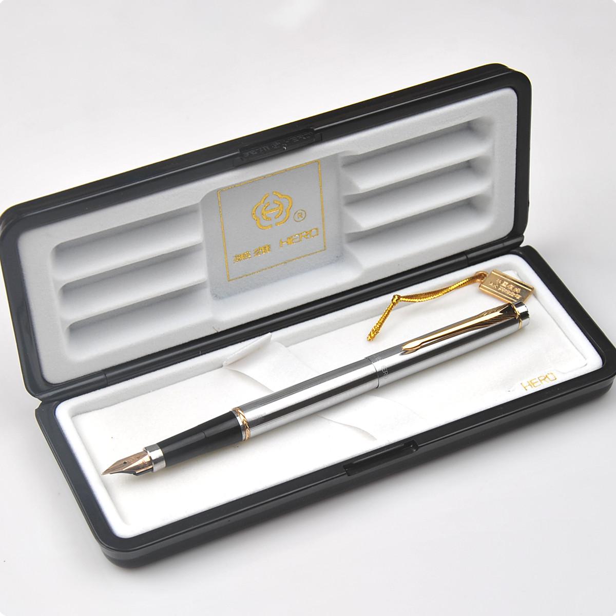 授权正品英雄钢笔  英雄200A全钢白夹14K金笔墨水笔 财务书写专用