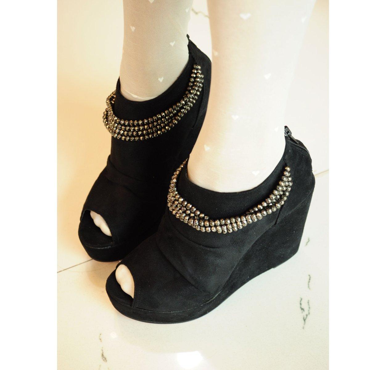 Круглый носок Танкетка Молния На высоком каблуке (6- 8 см) Клееная обувь С цепочкой, Танкетка Однотонный цвет