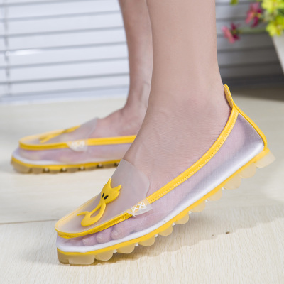New summer sports sandals female Korean tidal flat shoes breathable mesh cone with soft-soled shoes mesh