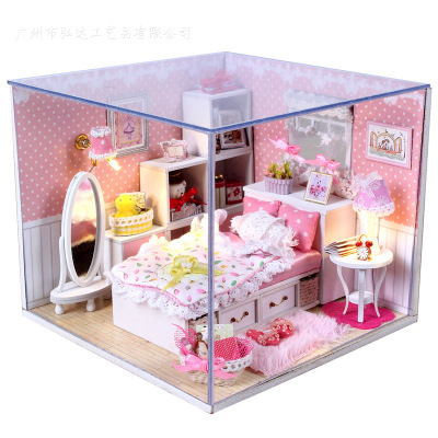 Dream birthday gift Hongda DIY handmade cabin house model assembled romantic full glass Dust Angel