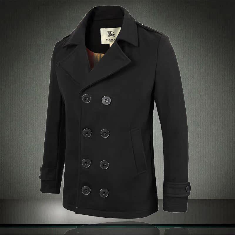 精品 男款b家 羊绒呢料 短款双排扣呢大衣图片