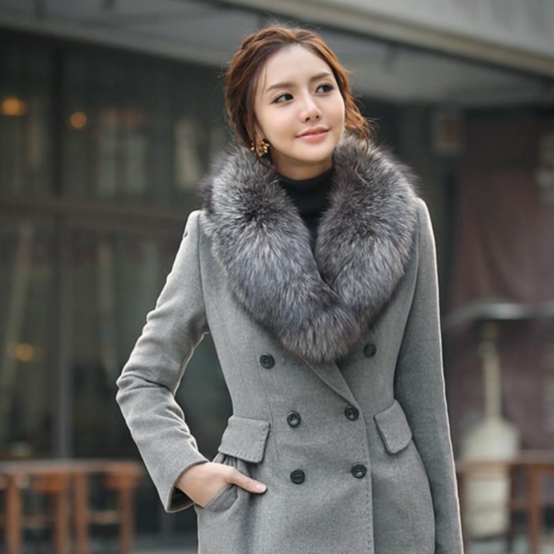 женское пальто Корея покупке осень/зима 2013 женщины носят подлинный Корейский реальные Фокс меха пальто меха воротник куртка ветровка