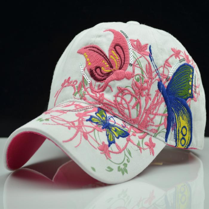蝴蝶刺绣帽子春夏天女士棒球帽韩版潮户外运动太阳帽鸭舌帽遮阳帽