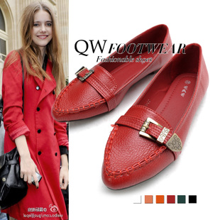 Wei great love to  show white ~ red feet! Pure pigment surface metal strap pointed a restore ancient ways single shoes
