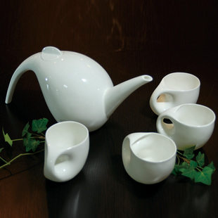 Maener snow pure hand-made water droplet shape bone China tea set 5 piece set creative home gift mail