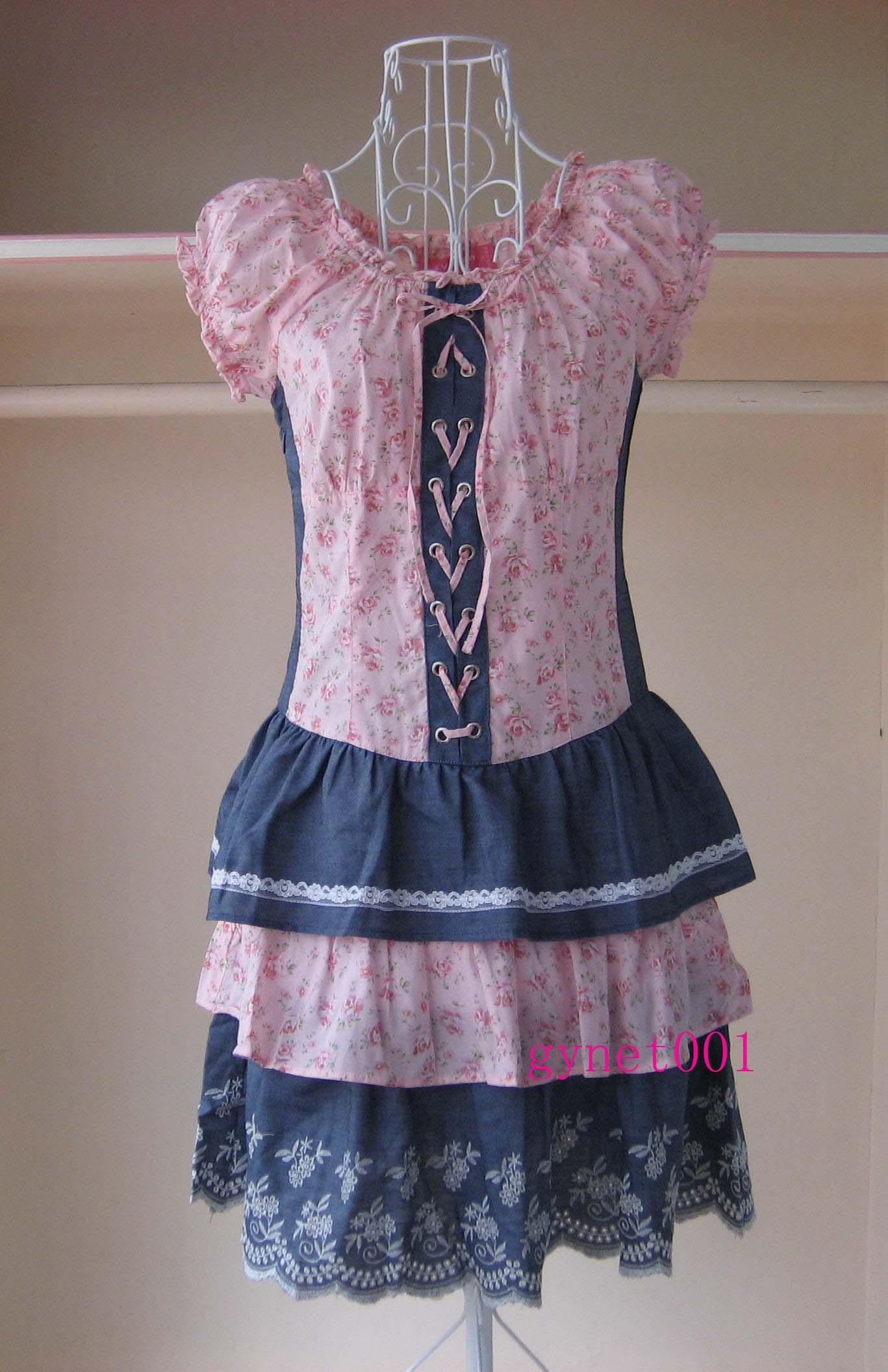专柜正品阿依莲2011夏装新款怀旧淑女拼牛仔短袖连衣裙ca1228427