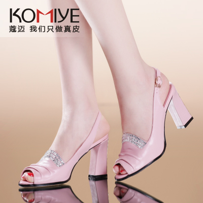 Khao Mai 2014 summer new fashion high-heeled leather sandals women diamond commuter temperament thick with fish head shoes shoes