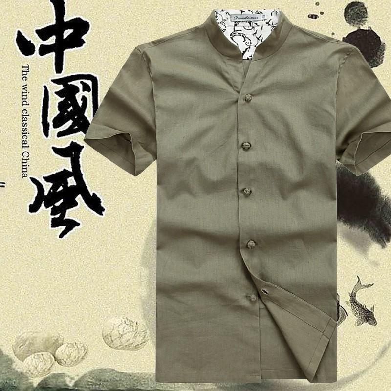 棉麻唐装男短袖夏装上衣 休闲中式汉服 男式纯色民族服装立领唐装
