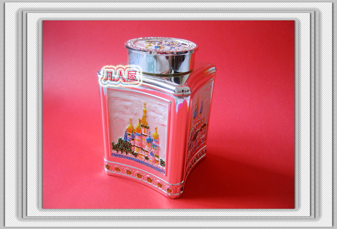 Tea Russia Tin Tin tea canister large square-shaped Castle tea Russia products