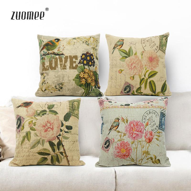 左米生活 美式乡村怀旧复古靠垫 花鸟系列棉麻抱枕 (含芯)图片