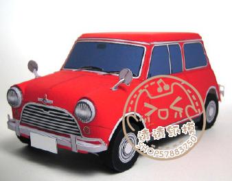 折纸 远远纸模型手工diy玩具汽车 宝马mini cooper 3d图片