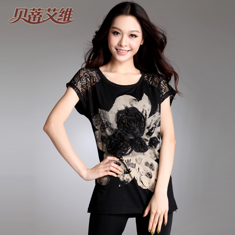 Beidiaiwei clothes for summer 2013 new Korean version plus the base shirt loose lace blouse short sleeve t-shirt woman