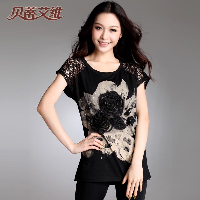 贝蒂艾维2013夏季女装新品韩版大码打底衫宽松蕾丝上衣短袖T恤 女
