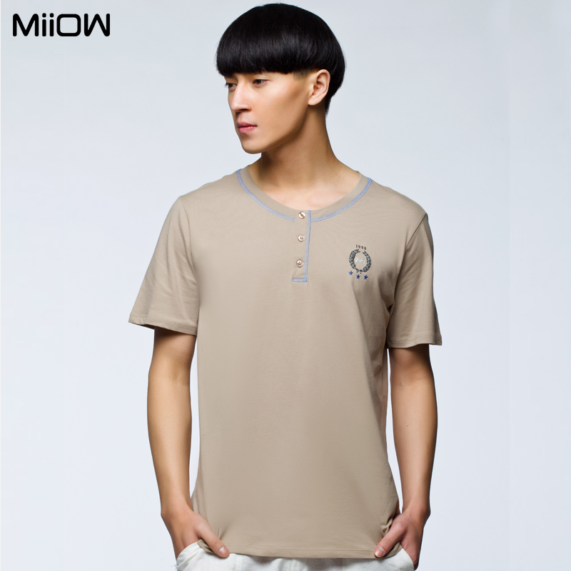 Men's t-shirt cat people nude-colored round neck line pull a genuine pure cotton short sleeve men's t-home services top