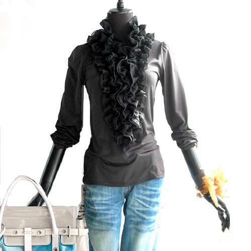 женская рубашка OTHER C003 Повседневный стиль Длинный рукав Однотонный цвет Зима 2012 Оборка Воротник-стойка Свитер