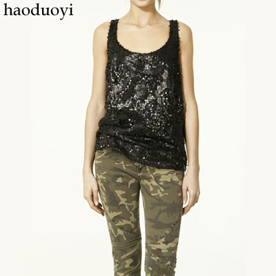 Топ Haoduoyi 0613002 Городской стиль С блестками Другой дизайн Лето 2012