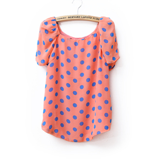 Summer of 2012 new retro dots XXL easing Korean chiffon chiffon blouse short sleeve shirt WT1528
