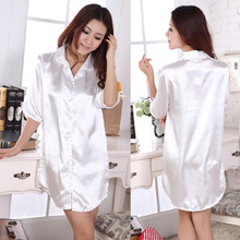Silk pajamas women sexy short-sleeved summer ice plus-size nightgown Ms. Noble silk shirt ice silk household to take