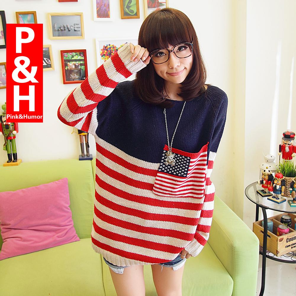 Свитер женский Pink & Humor B023 хлопок осень 2012 длинный рукав рукав со спущенным плечом закругленный вырез