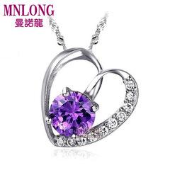银龙正品925纯银紫晶心扉项链天然紫水晶女短款爱心锁骨链礼物
