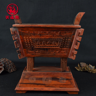 Authoritative red rosewood carved mahogany peak ages integrity tripod censer opening gifts crafts ornaments