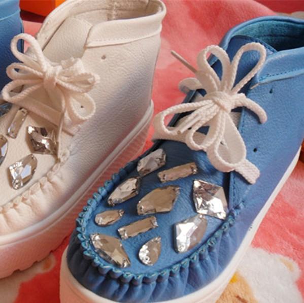 Круглый носок Плоская подошва Шнурок Средний каблук (3 -5 см) Стразы, Платформа