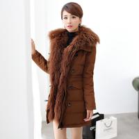 正品2013冬季新款羊羔毛奢华大毛领修身气质带帽羽绒服女中长款女