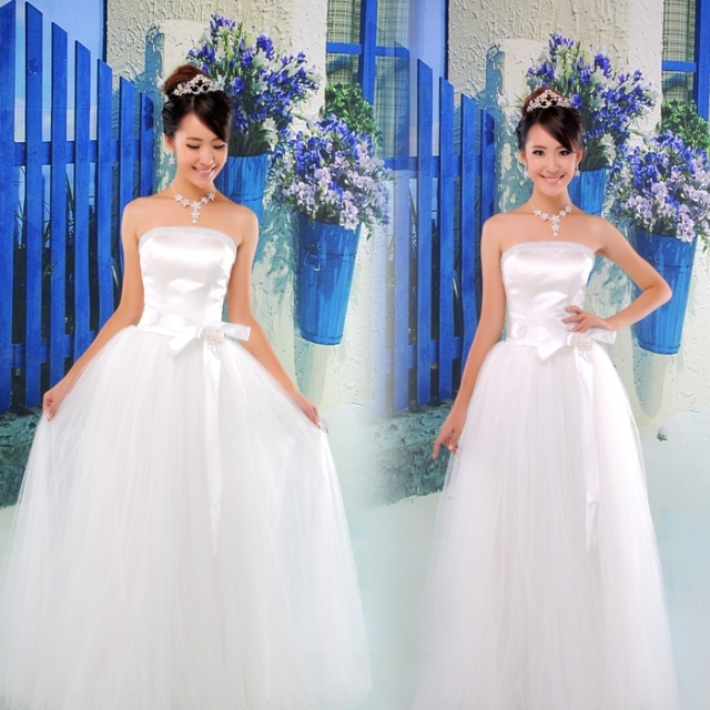 公司年会舞台表演装新娘结婚敬酒伴娘礼服韩式抹胸蝴蝶结简约婚纱