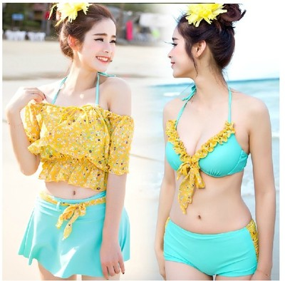 Xi poem Viagra female bikini swimsuit bikini denim smock small chest gather steel prop skirt hot springs