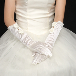 XI Xian bridal wedding accessories gloves, bow satin gloves ST99