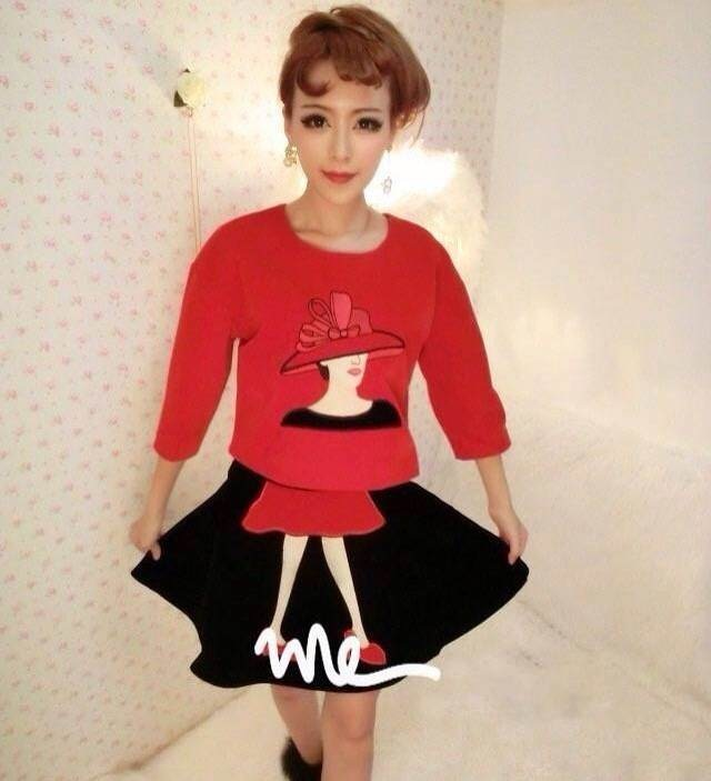 Костюм Фантазии вышитые свитер юбка Бархатная костюм для женщина осень/зима   для девушки