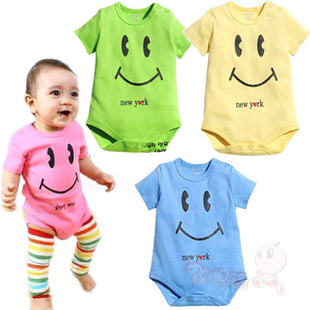 New 2012 Summer baby clothes clothing connected  city with lovely smiling  printed clothing infant short sleeve
