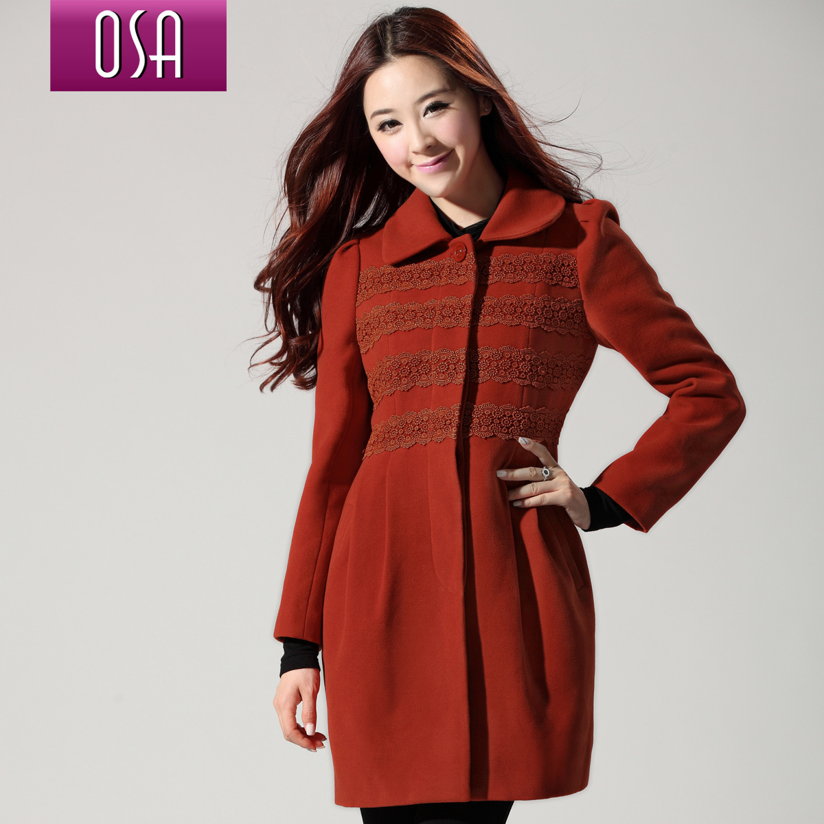 OSA2012秋冬新款韩版女装时尚修身毛呢外套呢大衣D23891