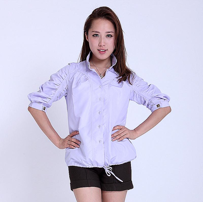 женская рубашка 3 Городской стиль Короткий рукав Однотонный цвет Воротник-стойка