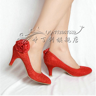 Wedding shoes new 2011 bridal wedding shoes round shallow fashion  with women in CHEONG-Sam shoe