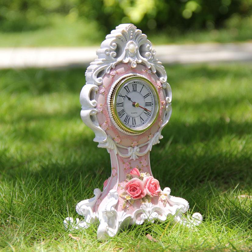 Цвет: Винтажный стиль розовый и белый Роза настольные часы
