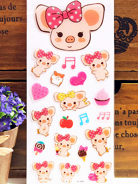 Cute tea bag pig. Cartoon solid decorative stickers. Journaling stickers. Mobile phone stickers